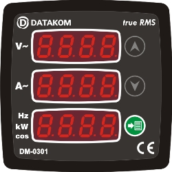 DM-0301 multi meter, 1 phase, 72x72mm, 3 display