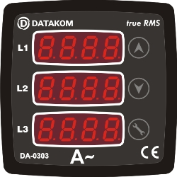 DA-0303 ammeter, 3 phase, 72x72mm, 3 display